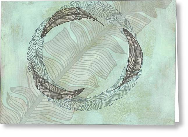 Cabin Interiors Digital Greeting Cards - Zen Feather Circle I I Greeting Card by Paulette B Wright