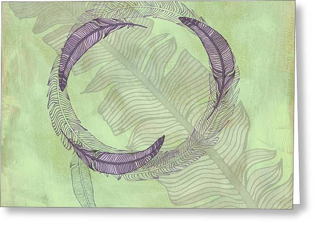 Cabin Interiors Digital Greeting Cards - Zen Feather Circle I V Greeting Card by Paulette B Wright