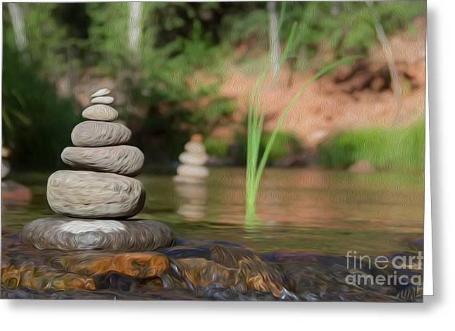Phoenix Framed Prints Greeting Cards - Zen Flow Greeting Card by Nicholas  Pappagallo Jr