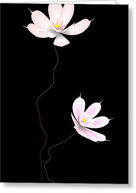 Black Greeting Cards - Zen Flower twins with a black background Greeting Card by GuoJun Pan