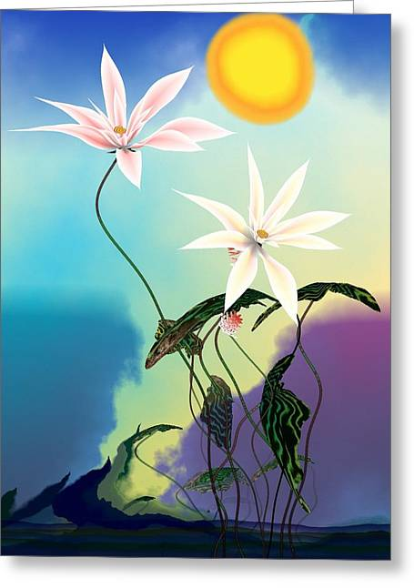 Abstract Flowers Greeting Cards - Zen flowers 3d Greeting Card by GuoJun Pan