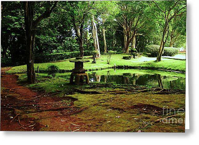 Moss Green Greeting Cards - Zen Garden Greeting Card by Cheryl Young