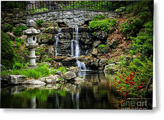Garden; Water; Falling; Flower; Pond Greeting Cards - Zen garden Greeting Card by Elena Elisseeva