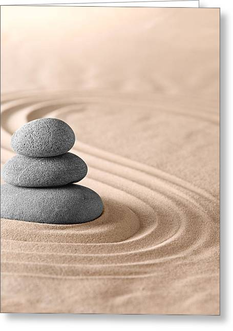 Concentration Greeting Cards - Zen Garden Stones Balance Greeting Card by Dirk Ercken