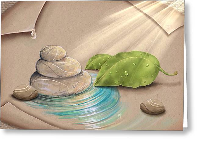 Light Blue Gray Greeting Cards - Zen garden Greeting Card by Veronica Minozzi
