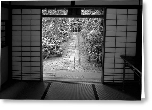 Recently Sold -  - Bamboo Fence Greeting Cards - Zen Garden Walkway Greeting Card by Daniel Hagerman