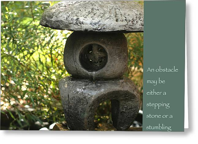 Stepping Stones Greeting Cards - Zen Garden with Quote Greeting Card by Heidi Hermes