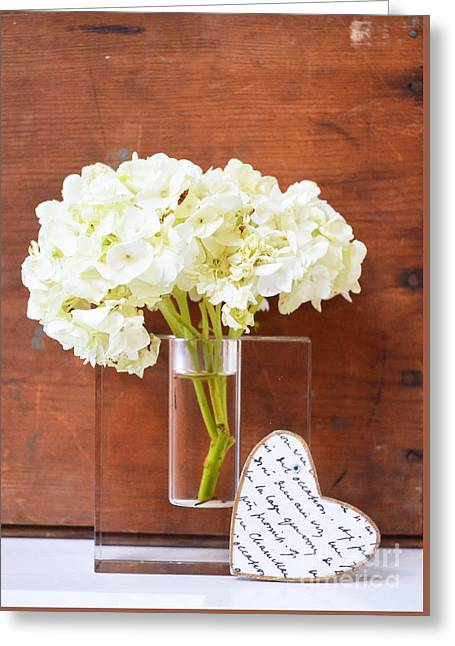 Couer Greeting Cards - Zen Hydrangeas and Love Greeting Card by Anahi DeCanio