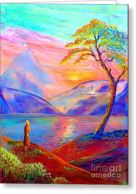 Surreal Fantasy Trees Landscape Greeting Cards - Zen Greeting Card by Jane Small