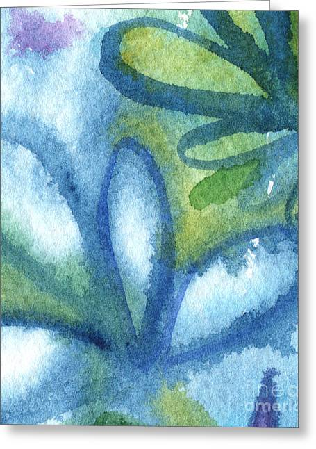 Blue Green Water Greeting Cards - Zen Leaves Greeting Card by Linda Woods