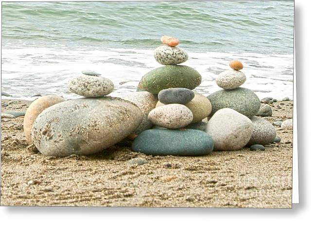 Zen Rock Stacking Greeting Cards - Zen Meditation Balance Greeting Card by Artist and Photographer Laura Wrede