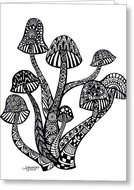 Pen And Ink Drawing Greeting Cards - Zen Mushrooms Greeting Card by Alexandra Nicole Newton