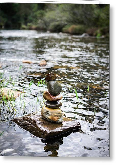 Best Sellers -  - Mystic Setting Greeting Cards - Zen River III Greeting Card by Marco Oliveira
