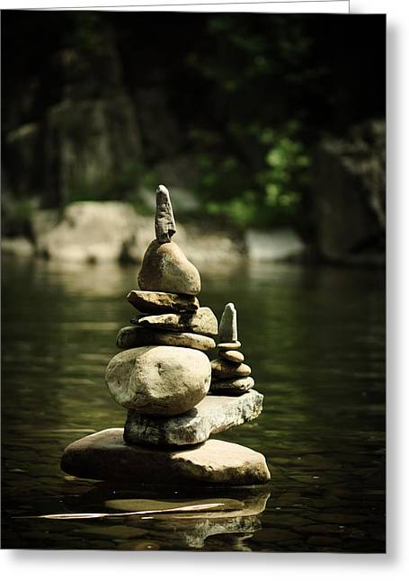 Stack Rock Greeting Cards - Zen Greeting Card by Shane Holsclaw