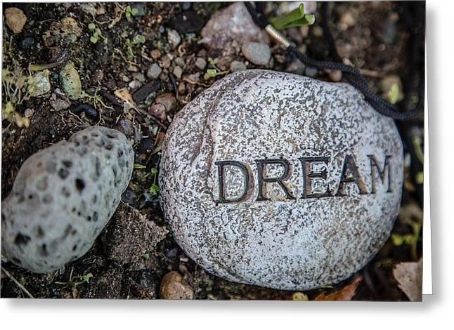 Garden Scene Digital Greeting Cards - Zen stone Dream  Greeting Card by Eti Reid