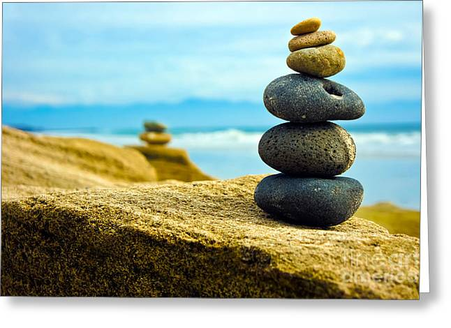Stability Greeting Cards - Zen Stone stacked together Greeting Card by Aged Pixel