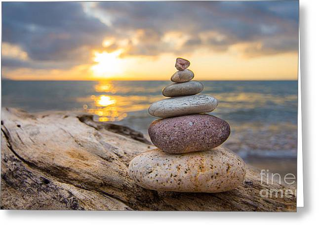 Stones Greeting Cards - Zen Stones Greeting Card by Aged Pixel