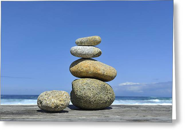 California Beach Art Greeting Cards - Zen Stones I Greeting Card by Marianne Campolongo