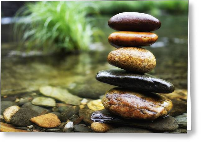 Metaphorical Greeting Cards - Zen Stones Greeting Card by Marco Oliveira