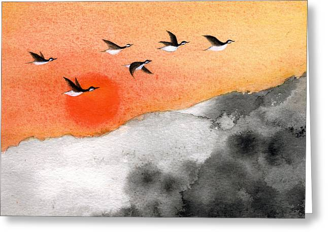 Oiyee Greeting Cards - Zen Sunset Greeting Card by Oiyee  At Oystudio