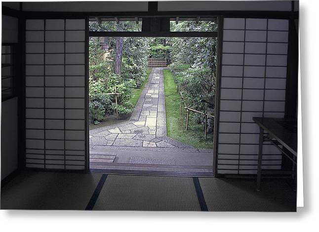 Recently Sold -  - Bamboo Fence Greeting Cards - Zen Tea House Dream Greeting Card by Daniel Hagerman