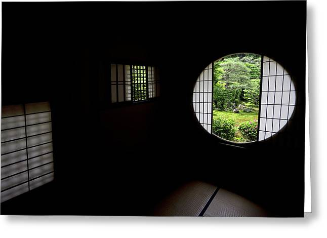 Rice Paper Greeting Cards - Zen Temple Tea House Interior - Kyoto Japan Greeting Card by Daniel Hagerman