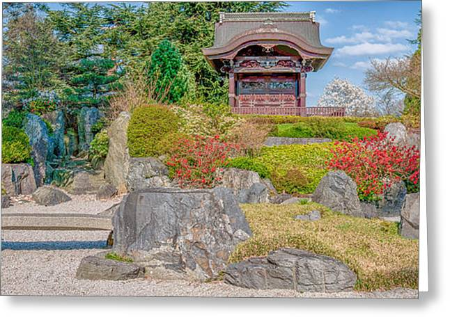 Botanist Greeting Cards - Zen Tranquility - Japanese Garden in Springtime - Panorama Greeting Card by Ian Monk