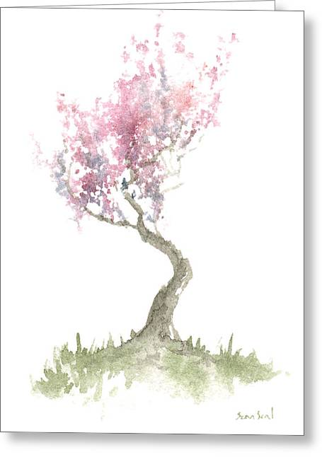 Zen Tree In Spring Greeting Card by Sean Seal