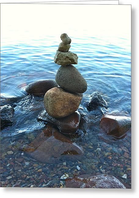 Zen Rock Stacking Greeting Cards - Zen Greeting Card by Vicki Stephens