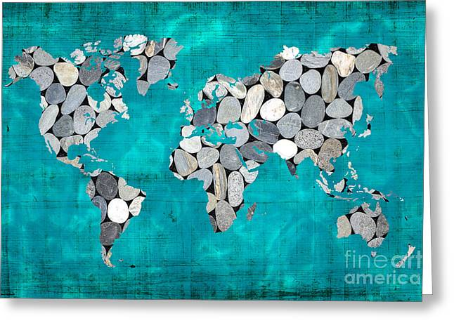 Planet Map Greeting Cards - Zen world map Greeting Card by Delphimages Photo Creations