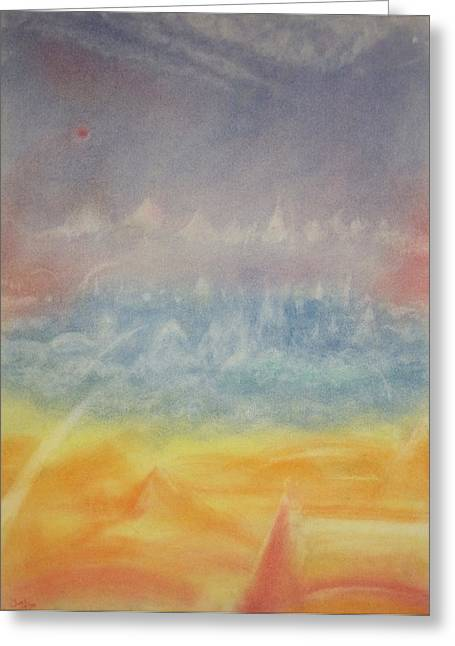 Mystical Landscape Pastels Greeting Cards - Zenith Greeting Card by Joel Rudin