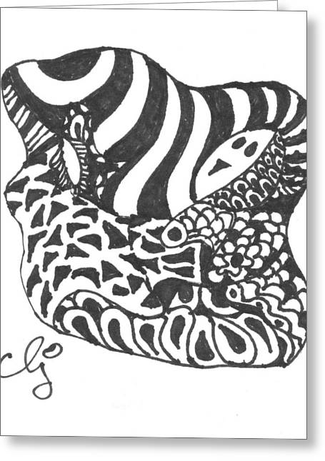 Zenoodle Uno Greeting Card by Cris Johnson