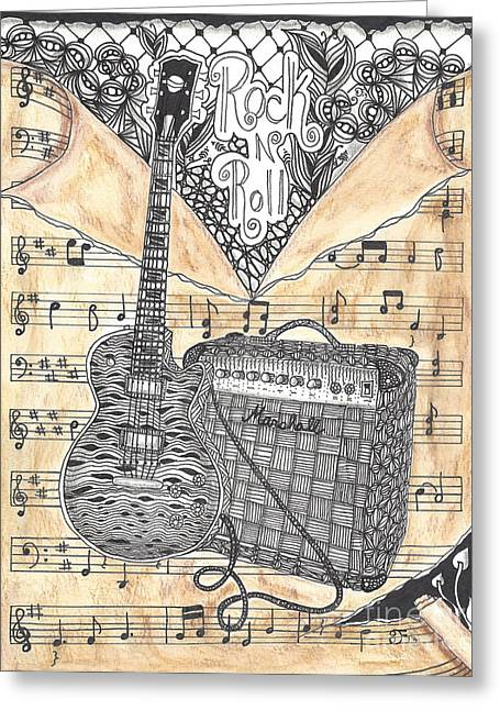 Player Drawings Greeting Cards - Zentange Inspired Guitar Greeting Card by Dianne Ferrer