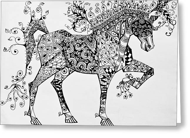 Horse Images Drawings Greeting Cards - Zentangle Circus Horse Greeting Card by Jani Freimann