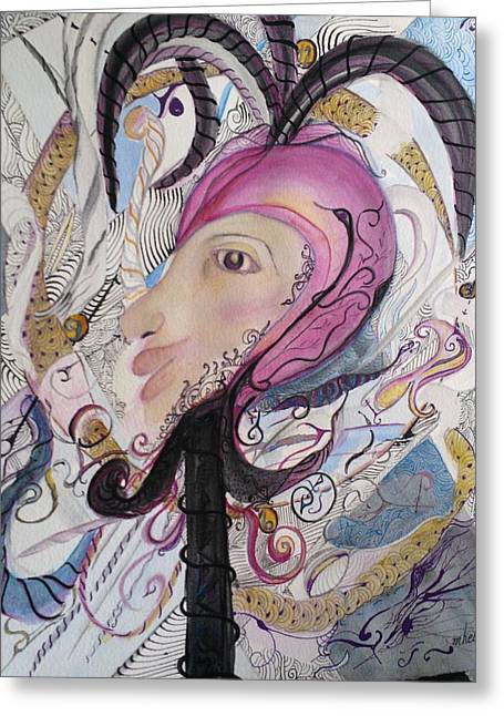 Hebert Greeting Cards - Zentangle Jester Greeting Card by Marian Hebert