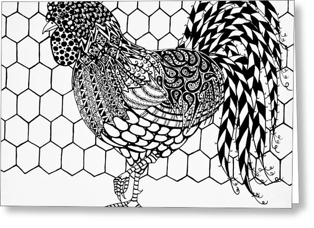 Barn Pen And Ink Greeting Cards - Zentangle Rooster Greeting Card by Jani Freimann