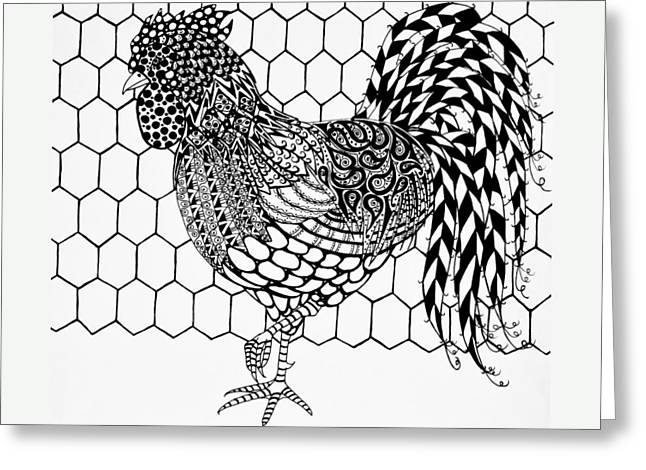 Zentangle Rooster Greeting Card by Jani Freimann