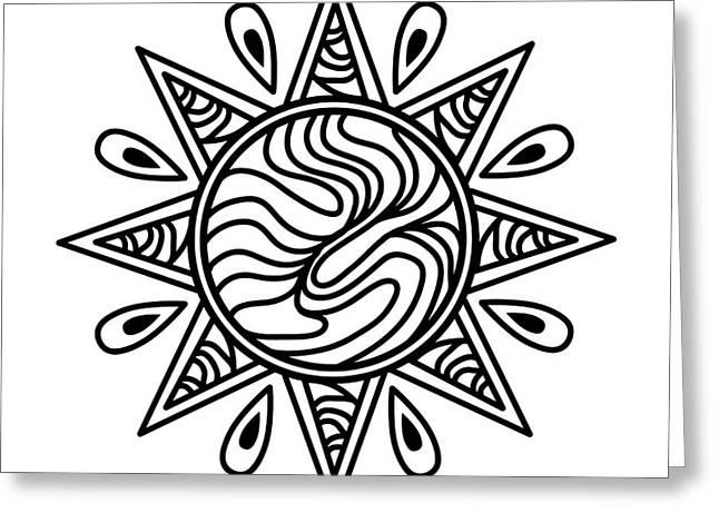 White Digital Greeting Cards - Zentangle Sun Icon Greeting Card by John Takai