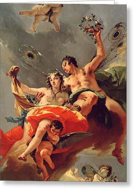 Giovanni Battista Tiepolo Greeting Cards - Zephyr and Flora Greeting Card by Giovanni Battista Tiepolo