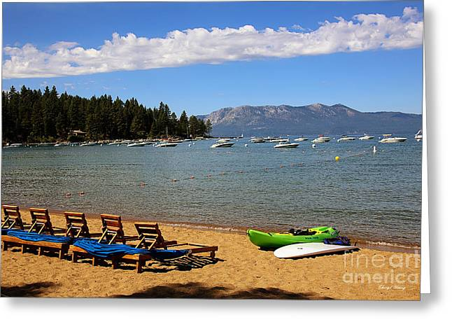 Suntan Greeting Cards - Zephyr Cove Greeting Card by Cheryl Young