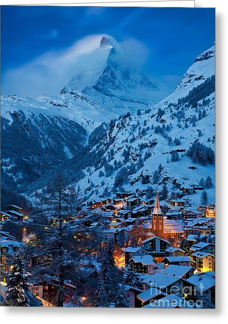 Recently Sold -  - Snowy Evening Greeting Cards - Zermatt - Winters Night Greeting Card by Brian Jannsen