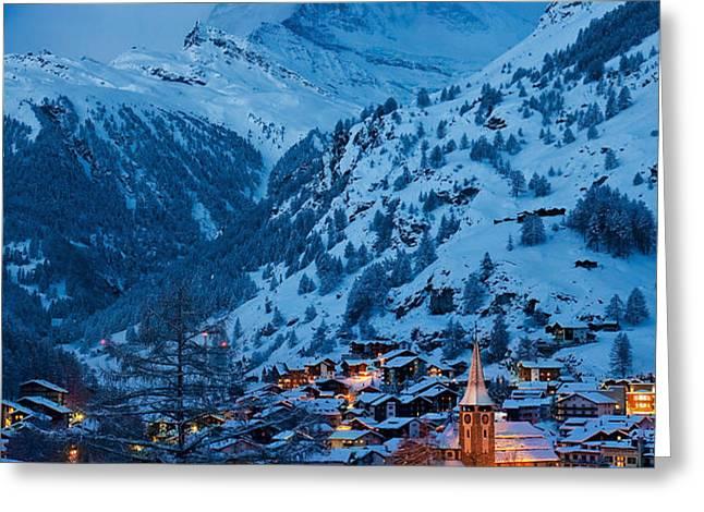 Zermatt - Winter's Night Greeting Card by Brian Jannsen