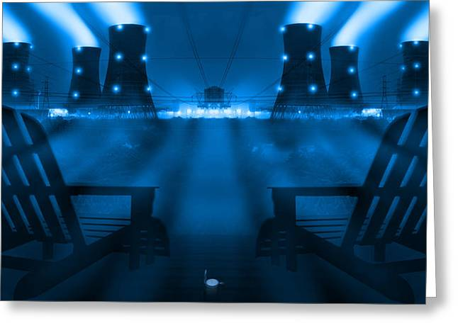 Nuclear Greeting Cards - Zero Hour in Blue Greeting Card by Mike McGlothlen