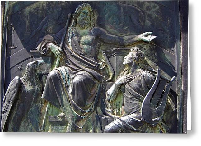 Zeus Bronze Statue Dresden Opera House Greeting Card by Jordan Blackstone