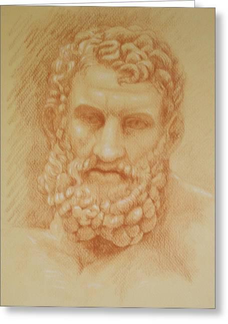 Greek Sculpture Drawings Greeting Cards - Zeus Greeting Card by Deborah Dendler