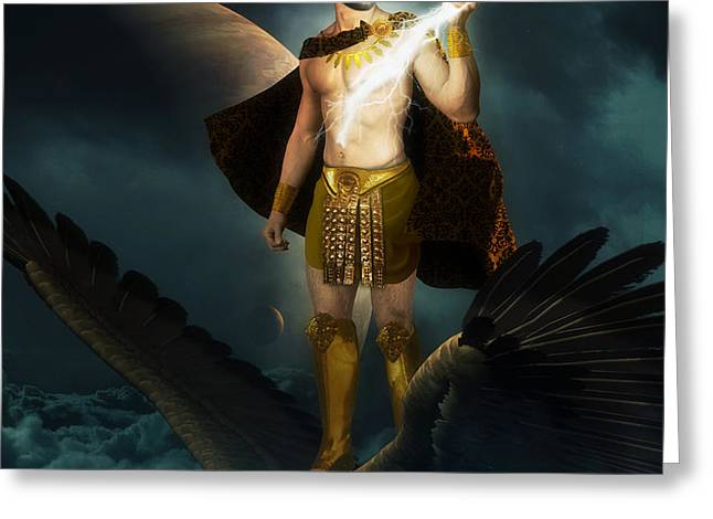 Zeus King of the Gods Greeting Card by Creative Sunny