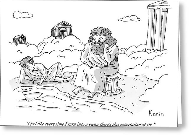 Zeus Speaks Gloomily To Hermes By A Pond Greeting Card by Zachary Kanin