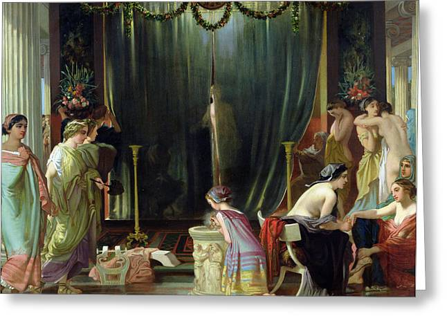 Harem Paintings Greeting Cards - Zeuxis Choosing a Model for Helen Greeting Card by Victor Mottez