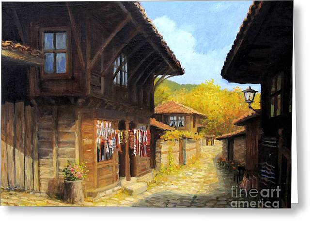 Bulgaria Paintings Greeting Cards - Zheravna in The Autumn Greeting Card by Kiril Stanchev