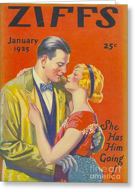 With Love Drawings Greeting Cards - Ziffs 1925 1920s Usa Kissing Magazines Greeting Card by The Advertising Archives